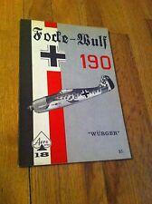 1968 Focke Wulf 190 Wurger Aero Publishers #18 RARE  Aviation Airplane WWII Book