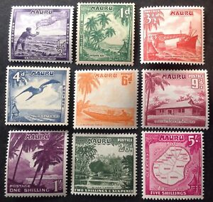 Nauru 1954 Full Set Of 9 stamps to 5 Shillings mint hinged
