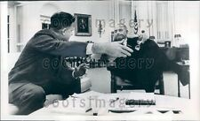 1967 President Lyndon Johnson With Charles Schultze Press Photo