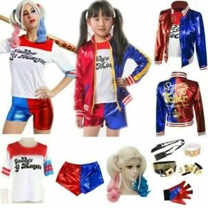 Adult Kids Cosplay Costume Harley Quinn Suicide Squad Halloween Fancy Dress UK