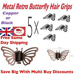 Metal Butterfly Hair Clips 5 x Retro Metal Hair Clips Grip Hair Styling Clips UK