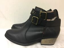Betsey Johnson Willow Black leather Ankle women Boots Size US 8.5M
