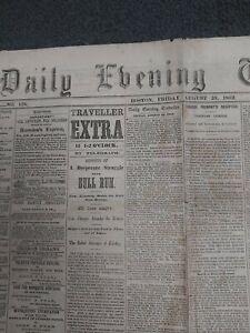 2nd Battle Of Bull Run - Manassas - Civil War - 1862 Boston Newspaper