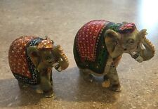 Stone Carved Hand Painted Elephant Mom and Baby BEAUTIFUL SET!