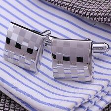 Men's Stainless Steel Business Shirt Silver Square Lattice Wedding Cufflinks#