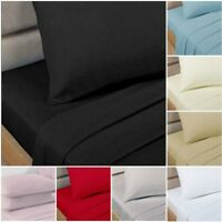 100% Egyptian Cotton 200 Thread Count Luxury Flat Sheets, 8 Colours, S/D/K Sizes