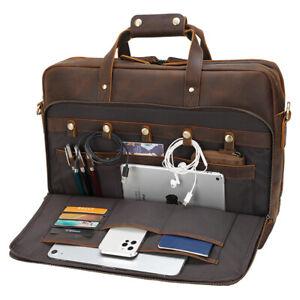 """Men Leather Briefcase Travel Bag Handbag 17"""" Laptop Case Messenger Bag Satchel"""