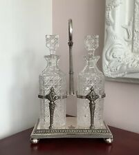More details for 19th c. silver plated & cut glass crested decanter stand martin hall & co c1855