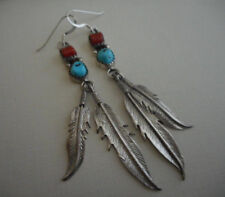 Feather Dangles Earrings 8475A Southwest Sterling Silver Turquoise Coral