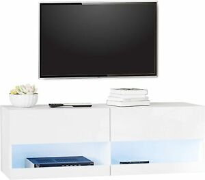 """White High Gloss TV Cabinet Stand with LED Lights for TV's 42"""" Living Room"""