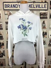 brandy melville white crop light weight forget me not floral hoodie NWT sz S/M
