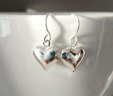 Silver Heart Earrings Drop Dangle