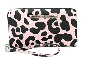 Betsey Johnson Zip Around Wallet NWT Pink with Black Leopard Spots Wristlet