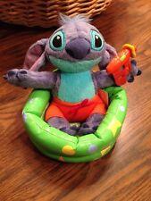 """Disney Stitch 6"""" In Kiddie Pool Plush Swim Trunks Water Gun Doll Beanie Lilo"""