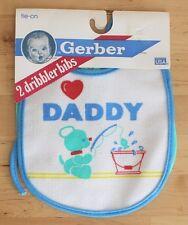 2 Vtg 1989 Gerber Terry Dribbler I Love Daddy Bear Tie On Vinyl Bibs Usa Made