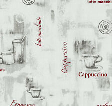 Kitchen Wallpaper Coffee Mug Embossed Vinyl Grey Red Modern Luxury P+S