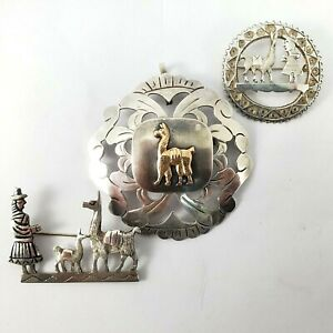 Vintage Peruvian Jewelry three Piece Lot Pin/Pendant