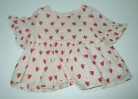 INFANT GIRLS BABY GAP PINK & RED HEART TUNIC TOP SHIRT BLOUSE SIZE 3-6 MONTHS