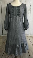 Noa Noa Dress Tunic Linen Grey Boho Embroidery size 14 L RRP: EU 109