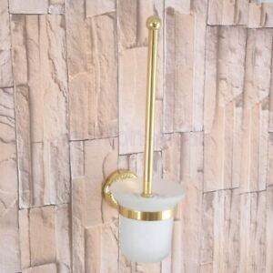 Gold Color Brass Bathroom Toliet Brush Holder Glass Cup Wall Mounted fba596