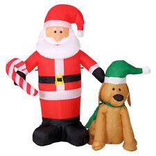 Gonfiabile Babbo Natale con Cane Luci a LED 120 cm autogonfiabile Santa Clause