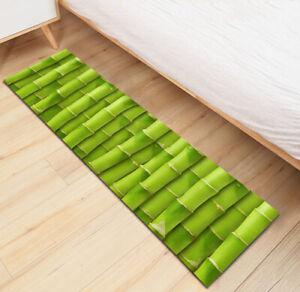 Green Bamboo Kitchen Mat Non-Slip Soft Carpet Kids Bedroom Floor Area Rugs