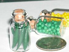Glass Small bottle charm green bean vegetable spice jar food miniature dollhouse