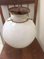 Vintage Antique Old School house Light Ceiling Fixture Milk Glass Globe