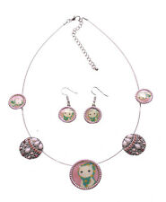 Cute Combo-A Cat In A Scarf Enamel Pendant Necklace & Matching Earrings(Ns13)