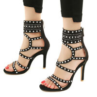 Women Gladiator Sandals Plus Size Open Toe Suede Stiletto High Heel Party Shoes