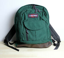 Vintage EASTPAK Backpack Green Leather Bottom School Bag Pack Made in USA