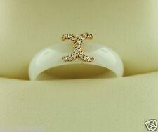 Hidalgo Stackable White Ceramic X Accent Ring