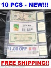 4 POCKETS Currency Coupon Organizer Sleeves Pages Currency size 10 /set NEW!