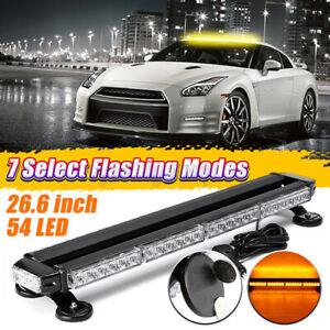 54 LED Universal Amber Traffic Advisor Double Side Warning Strobe Flash Lamp Bar