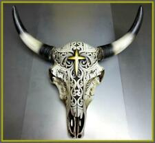 New Western Cow Bull Steer Skull Rustic Gold Cross Tribal Hanging Wall Sculpture