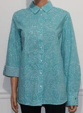 New Tommy Hilfiger Button Front Shirt Top Blouse Teal Multi, Size XL, MSRP $50