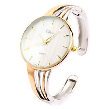 2Tone Rose Silver String Style Band Luxury Women's Bangle Cuff Watch