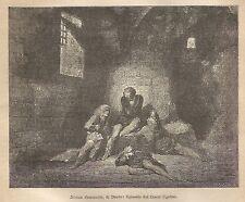 A9316 Divina Commedia, episodio Conte Ugolino - Xilografia Antica 1906_Engraving