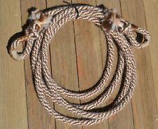 """3/8"""" Alpaca Hair Loop / Roping / Trail Reins 6 St x 9 ft- Mix of Brown/Tan/White"""