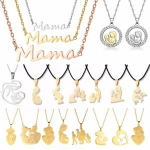 Charm Stainless Steel Mother Children Necklace Pendant Jewelry Mother's Day Gift