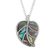 Abalone Paua Shell Leaf Design Silver Plated Necklace