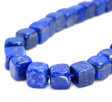 9-10MM  LAPIS LAZULI GEMSTONE GRADE AAA CUBE LOOSE BEADS 7""