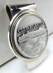 *RARE* COSTA ATLANTICA Stainless & Pewter Money Clip, Italian Cruise Ship