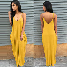 Womens Boho Long Maxi Dress Summer Beach Casual Evening Party Sundress Plus Size