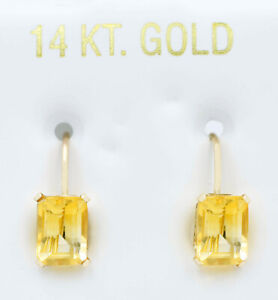 GENUINE 2.84 Cts YELLOW TOPAZ DANGLING EARRINGS 14k GOLD *Free Appraisal Service