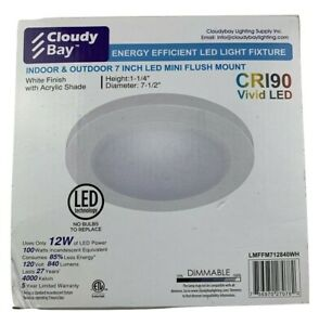 Cloudy Bay LMFFM712840WH 7.5 inch LED Ceiling Light,12W 840lm,4000K Cool White