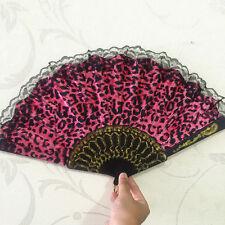 rojo Diseño de leopardo Tela Estampada Plegables Abanico Manual negro