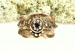 Golden Bronze Ring-Herkimer Diamond Crystal and Sapphire Stone-Size 12