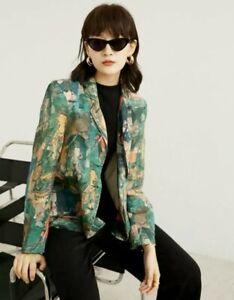 Green Designer  Arty Vtg Print Street  Loose Lightweight Blazer Jacket  10 12