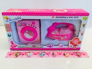 Kids pretend Role Play Mini Home Appliance Toy with sound and light-iron&washing